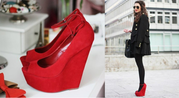 shoes red shoes wedges