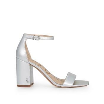 Sam Edelman Daniella Block Heel Sandal Silver Metallic Leather
