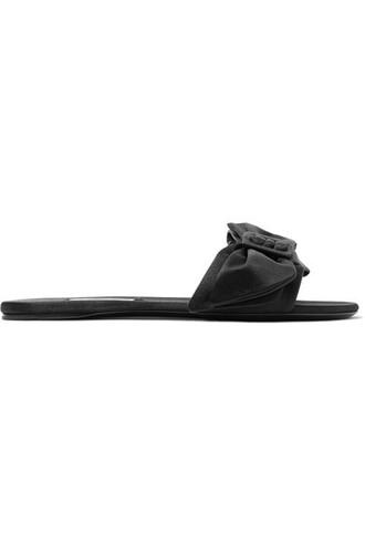 bow embellished black satin shoes