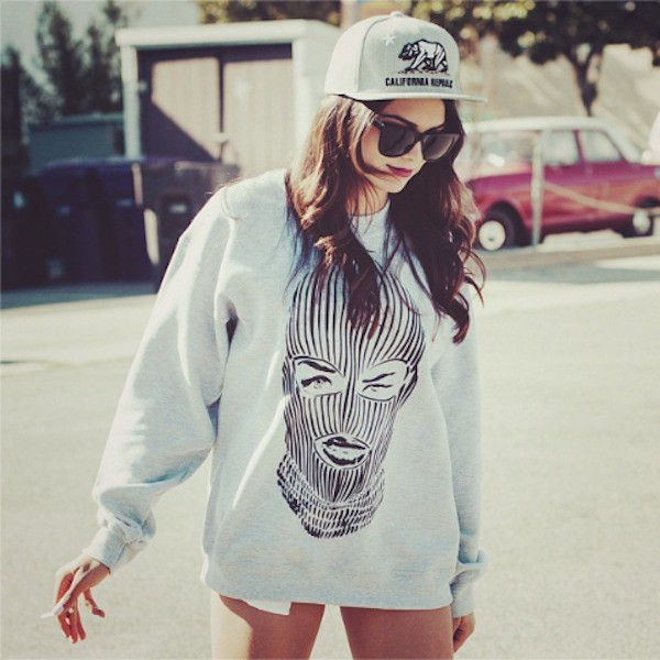 top hat cap grey sweater