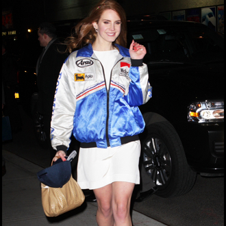 jacket bomber jacket blue jacket lana del rey lizzy grant mclaren
