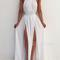 Simple white a-line backless long prom dress, evening dress - 24prom