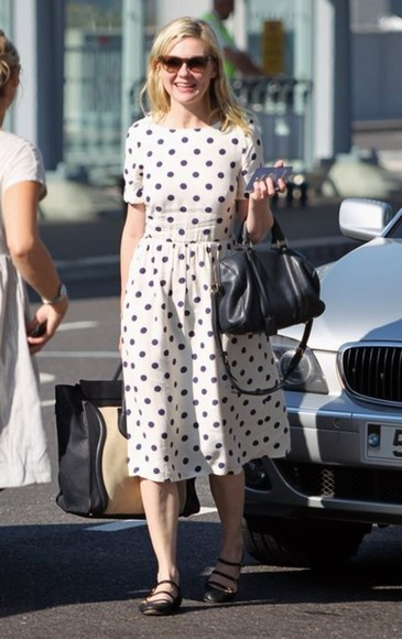 kirsten dunst dress polka dots dots bag