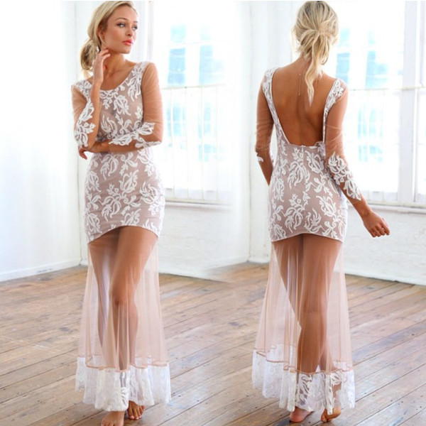 cream sheer print maxi gown nude see through