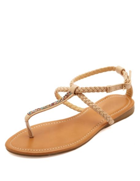 6717f8380cfc Braided   Bejeweled T-Strap Thong Sandals  Charlotte Russe