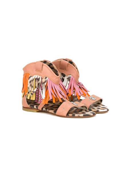 Roberto Cavalli Kids sandals leather suede brown shoes