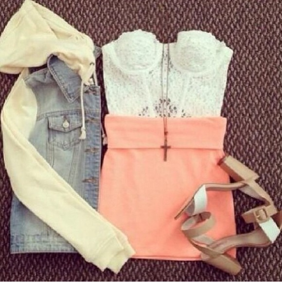 jacket denim blouse top skirt summer bralette jeans jacket sweatshirt-arms shirt pink skirt bralette