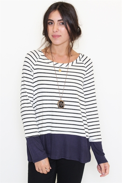 Contrast striped long sleeve