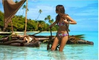 swimwear bikini multicolor ruffle beach cute tan summer
