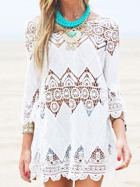White 3/4 Sleeve Cut Out Lace Detail Scallop Edge Boho Dress-top