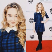 sabrina carpenter,collared dress,dress,blue dress,leggings,shoes,jumpsuit,long sleeves,collar,stockings,black stockings,heels,black shoes,girl meets world