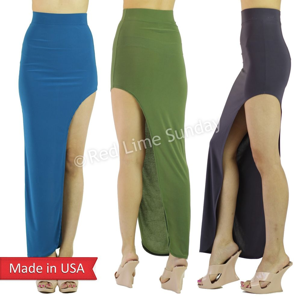 Women Sexy Solid Color High Low Asymmetrical Wide Side Slit Long Maxi Skirt USA