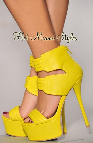Yellow Straps High Heel Sandals