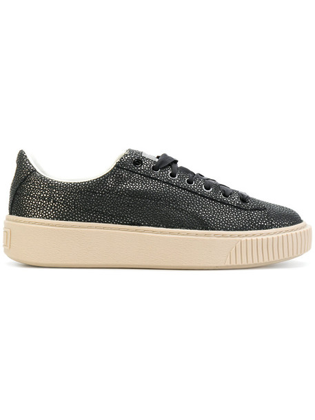 puma women sneakers leather black shoes