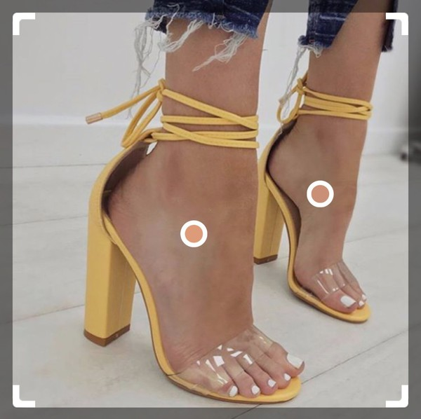 7f627db0a24 Bello Perspex Lace Up Block Heel In Yellow Faux Suede