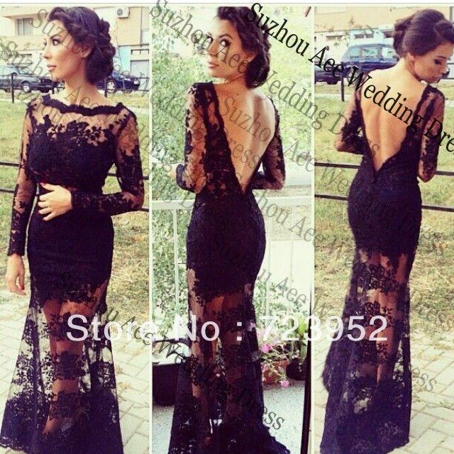 2014 Gorgeous Long Sleeve Backless Long Black Dress Sheath Column See…