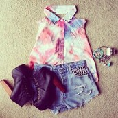 blouse,sleeveless,galaxy print,colorful,studs,studded collar blouse,studded collar,shoes,tie dye,shorts,underwear,jeans,short,denim