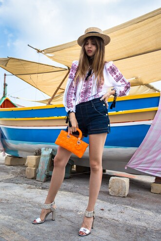 the golden diamonds blogger blouse bag shorts shoes hat straw hat peasant top denim shorts orange bag dior bag high heel sandals sandals