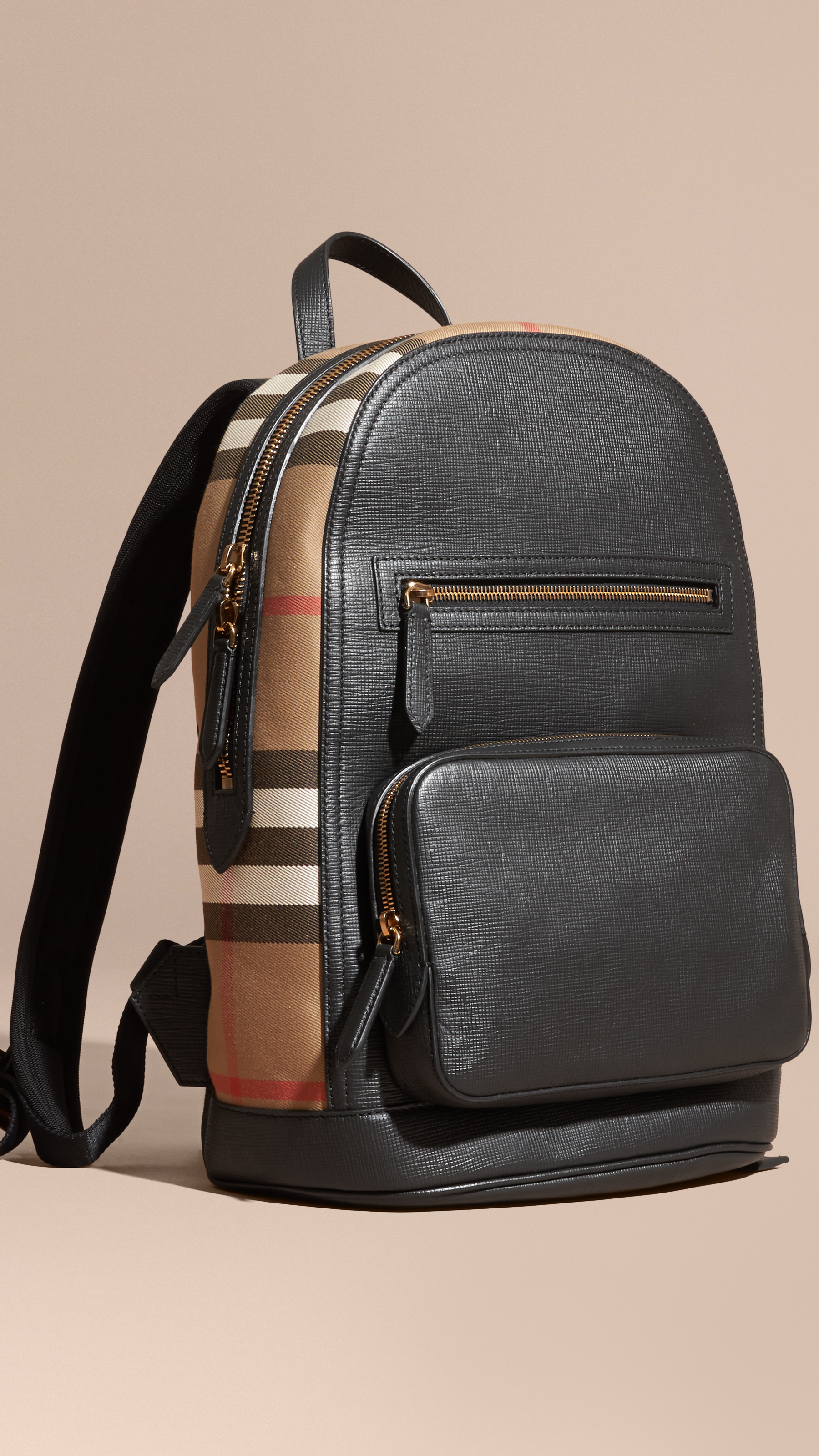 Burberry Multicolor Textured Leather And House Check