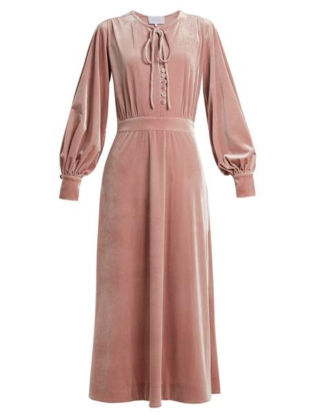 LUISA BECCARIA dress velvet dress velvet pink