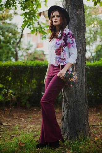 pants bag shoes hat the bow-tie blouse