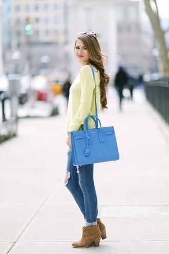 southern curls and pearls blogger blue bag designer bag saint laurent