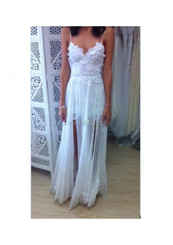 Charming chiffon spaghetti straps white prom dress