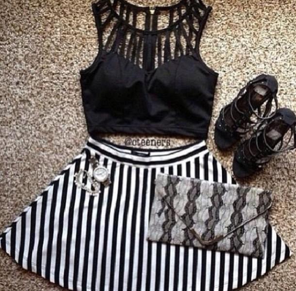 shirt black straps crop tops