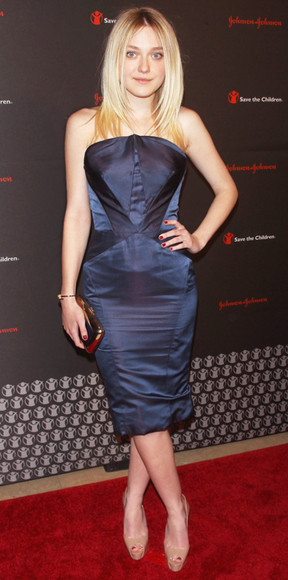 navy dress strapless dakota fanning cocktail dresses