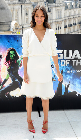 dress zoe saldana white dress