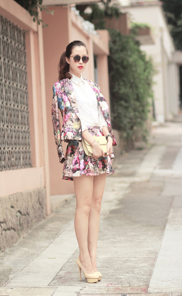 mellow mayo sunglasses shirt jacket skirt bag shoes