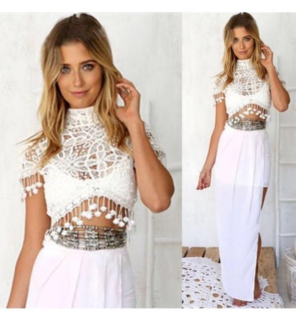 4f3ce0d241 Bohemian White Lace Crop Top & Maxi Skirt Set