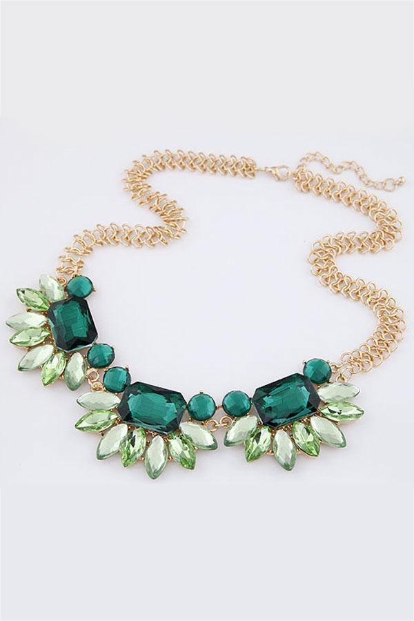 Shiny color block bib necklace