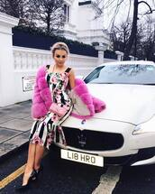dress,tallia storm,floral dress,dolce and gabbana,midi dress,blend dress,instagram,jacket,hafnium,pink jacket
