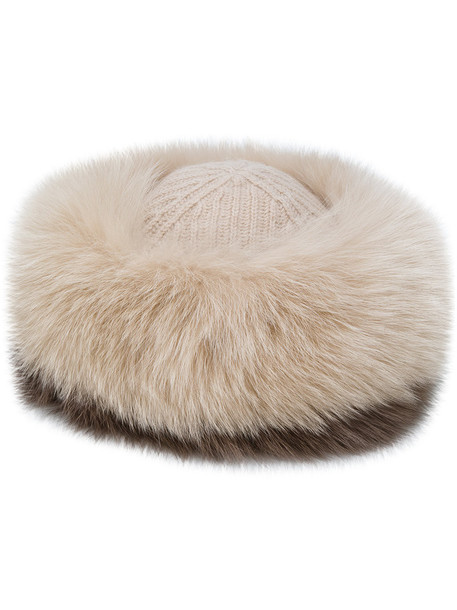 Agnona fur fox women hat fur hat nude