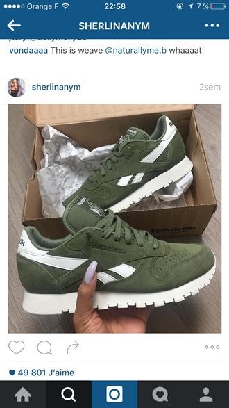 shoes kaki sneakers reebok