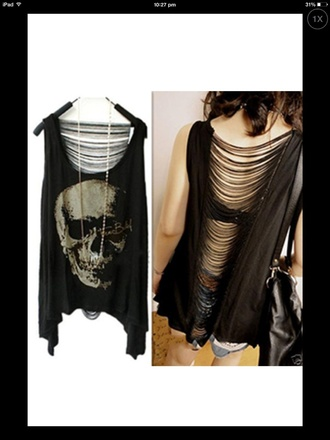 tank top top t-shirt beautiful halo grunge alternative skull fashion goth goth hipster