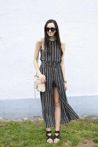 the glam files blogger striped dress slit dress spring dress sandals