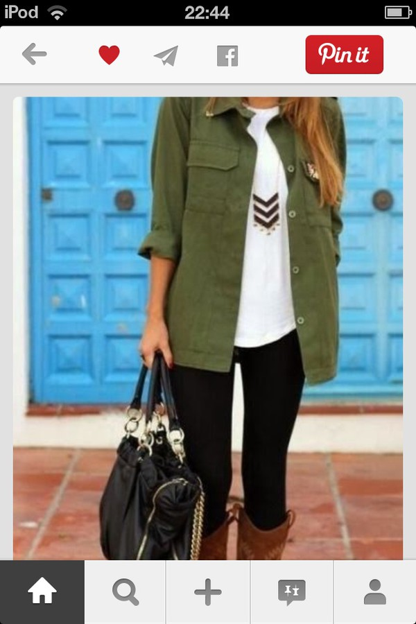 army green jacket jeans jewels shoes bag