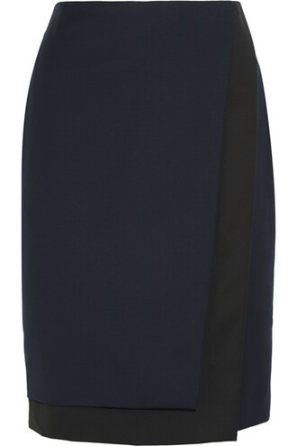 skirt pencil skirt layered black wool