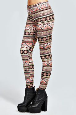Aviana Pastel Foil Aztec Leggings at boohoo.com