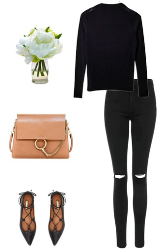 krystal schlegel blogger strappy flats black sweater outfit idea chloe bag designer bag black ripped jeans