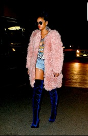 shoes,blue boots,boots,knee high boots,thigh high boots,suede boots,rihanna,sunglasses,carvela,coat,instagram,tumblr,tumblr girl,tumblr outfit,sexy,fur coat,blue,pink,denim shorts,girly,dope