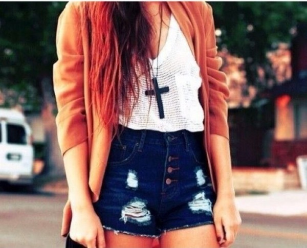 blouse shorts jewels jacket