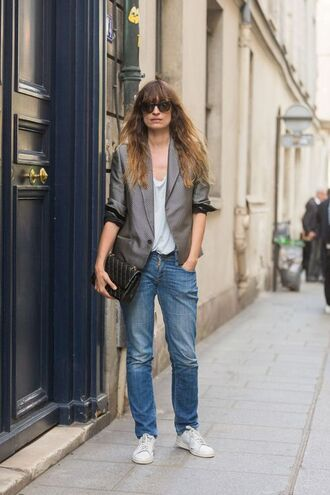 coat top caroline de maigret model fashionista office outfits jeans blue jeans denim white top blazer grey blazer sunglasses bag black bag chanel bag chanel streetstyle sneakers white sneakers grey jacket