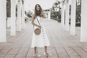 shoes and basics,blogger,dress,bag,shoes,flat sandals,white dress,button up dress,round bag,summer outfits