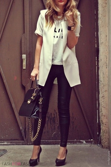 style coat white shorts croptops jacket clothes