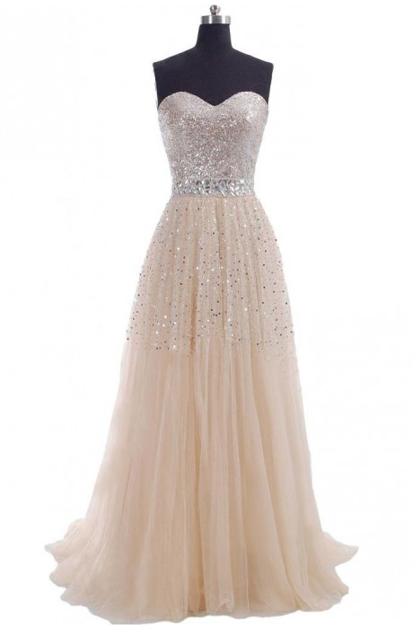 Line sweetheart floor length chiffon champagne prom dress with sparkly npd1456 sale at shopindress.com