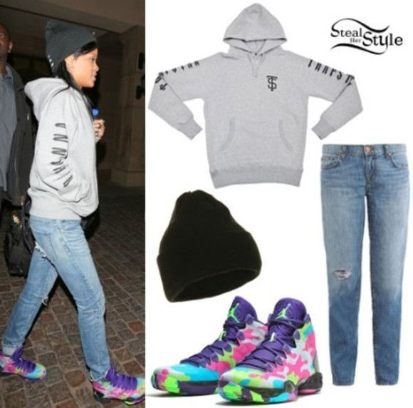 rihanna jacket jeans hat shoes
