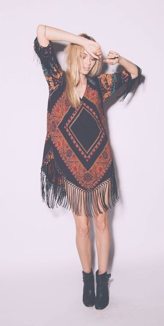 gypsy dress gypsy boho dress boho shirt boho boho chic style cute tribal pattern girly black fringes